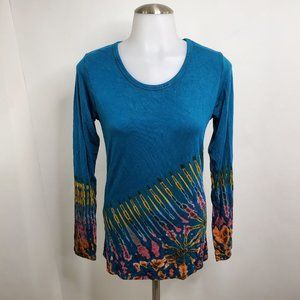 Gypsy Rose Top S M Tie Dye Blue Asymmetric Long Sl